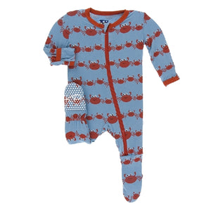 Kickee Pants - Print Footie With Zipper - Blue Moon Crab Family