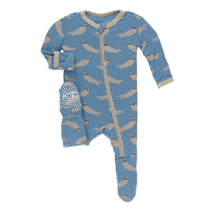 Kickee Pants - Print Footie With Zipper - Blue Moon Sea Otter