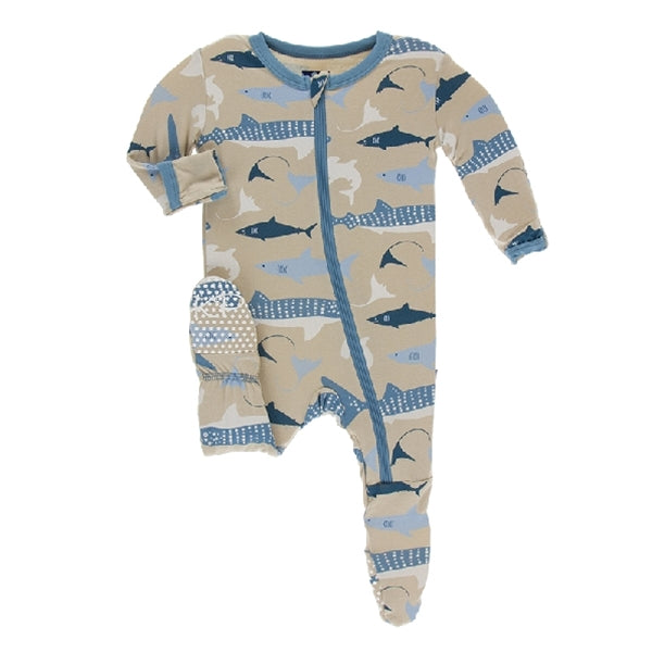 Kickee Pants - Print Footie With Zipper - Burlap Sharks