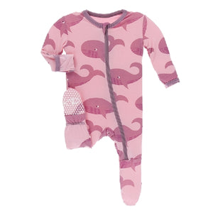 Kickee Pants - Print Footie With Zipper - Lotus Whales