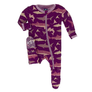 Kickee Pants - Print Footie With Zipper - Melody Sharks