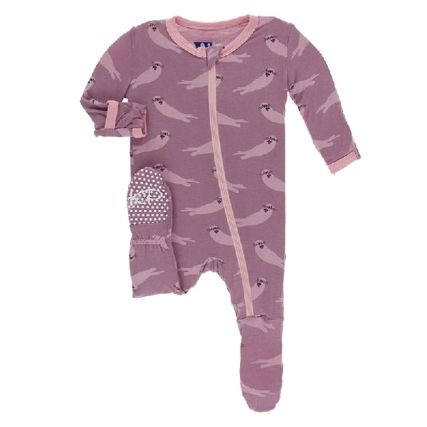 Kickee Pants - Print Footie With Zipper - Pegasus Sea Otter