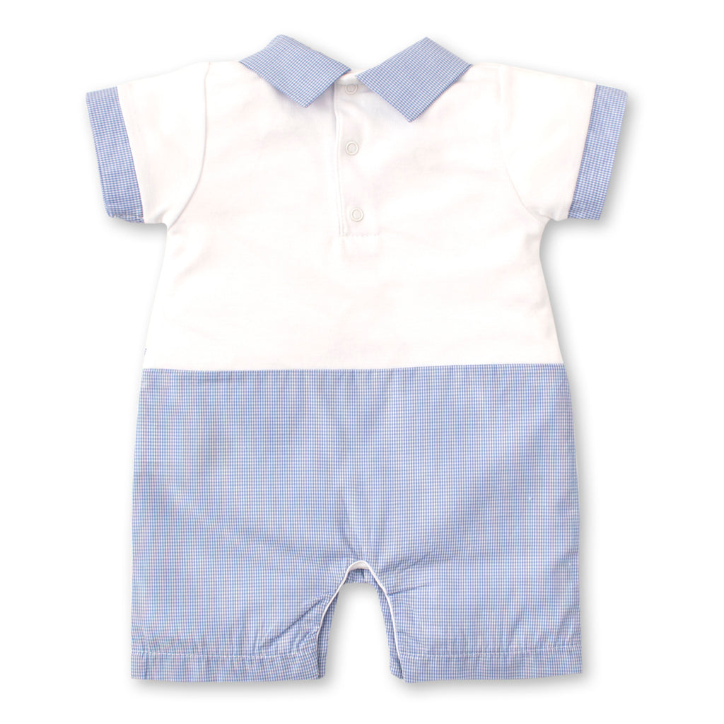 Kissy Kissy - Pique Baby Bunnies - Short Playsuit With Collar - White/Lt Blue
