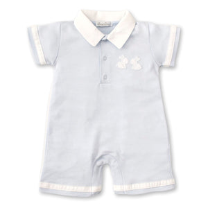 Kissy Kissy - Pique Baby Bunnies - Short Playsuit With Collar - Light Blue