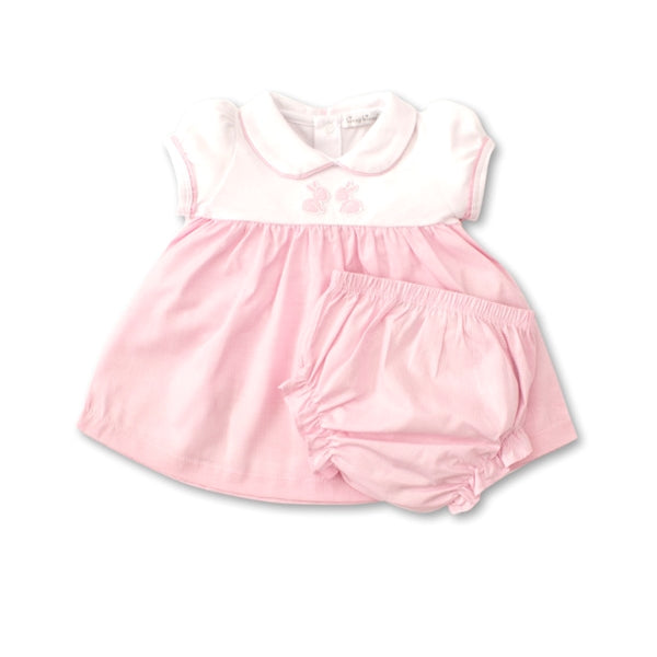 Kissy Kissy - Pique Baby Bunnies - Dress Set - White/Pink