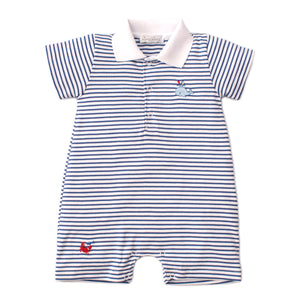 Kissy Kissy - Whale Of A Time - Striped Short Playsuit - Blue