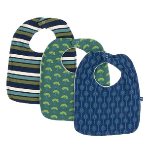 Kickee Pants - Bib Set - Botany Grasshopper Stripe, Ivy Mini Trees And Navy Leaf Lattice