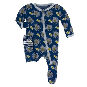 Kickee Pants - Print Footie With Zipper - Navy Cornflower And Bee