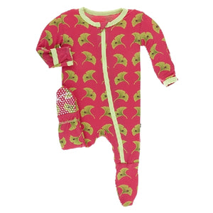 Kickee Pants - Print Footie With Zipper - Red Ginger Ginkgo