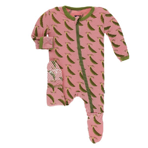 Kickee Pants - Print Footie With Zipper - Strawberry Sweet Peas