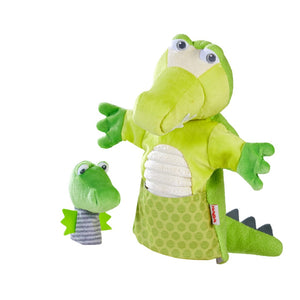 Haba - Glove Puppet Crocodile With Baby Hatchling Finger Puppet
