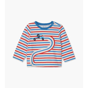 Hatley-Race Car Doggy Long Sleeve Baby Tee-cream