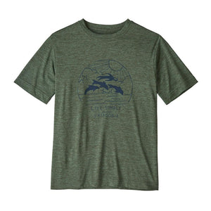 Patagonia - Boys' Cap Cool Daily T-Shirt - Kale Green X-Dye