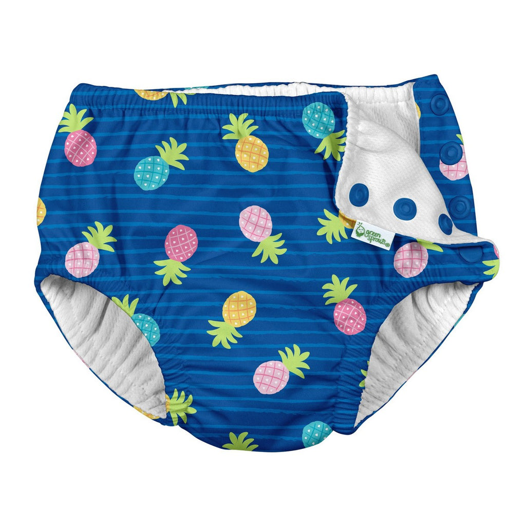 I Play - Swimsuit Diaper - Blue Pineapple Stripe