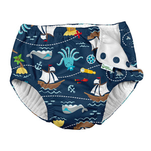 I Play - Swimsuit Diaper - Navy Pirate Ship