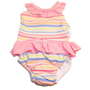 I Play - 1 Pc Ruffle Swimsuit Swim Diaper - Pink Bright Stripe