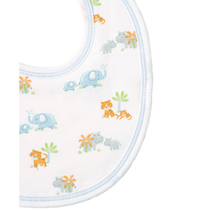 Kissy Kissy - Safari Siblings - Print Bib - Light Blue