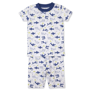 Kissy Kissy -Pjs Slinky Sharks -Print Short PJ Set - Snug Fit -Blue