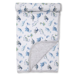 Kissy Kissy -Happy-Saurus -Reversible Blanket -Multi