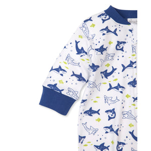 Kissy Kissy -Pjs Slinky Sharks -Print Footie w/ zipper -Blue