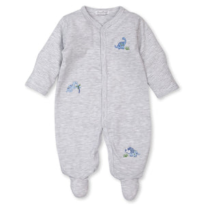 Kissy Kissy -Happy-Saurus -Striped Footie -Grey