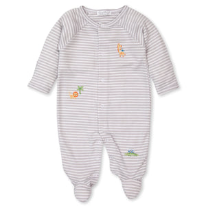 Kissy Kissy -Summer Safari -Striped Footie -Silver