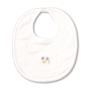Kissy Kissy -Buzzing Bees -Bib with Dots -White with Silver