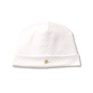 Kissy Kissy -Buzzing Bees -Hat with Dots -White with Silver