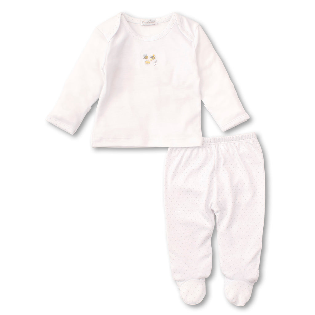 Kissy Kissy -Buzzing Bees -Footed Pant Set -White with Silver