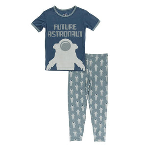 Kickee Pants-Short Sleeve Piece Print Pajama Set-Dusty Sky Astronaut