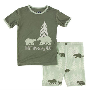 Kickee Pants-Short Sleeve Piece Print Pajama Set with Shorts-Aloe Bears and Treeline