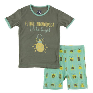 Kickee Pants-Short Sleeve Piece Print Pajama Set with Shorts-Glass Beetles
