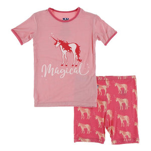 Kickee Pants-Short Sleeve Piece Print Pajama Set with Shorts-Red Ginger Unicorns