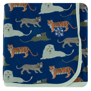 Kickee Pants-Print Swaddling Blanket-Flag Blue Big Cats