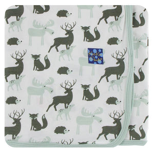 Kickee Pants-Print Swaddling Blanket-Natural ForestAnimals