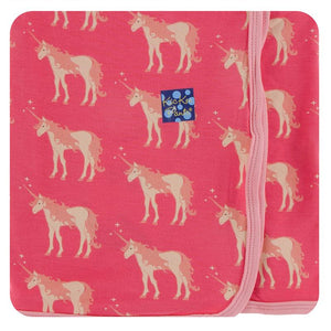Kickee Pants-Print Swaddling Blanket-Red GingerUnicorns