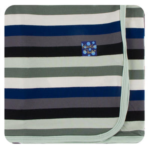 Kickee Pants-Print Swaddling Blanket-Zoology Stripe