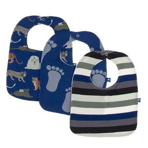 Kickee Pants-Bib Set-Flag Blue Big Cats, Flag BlueBig foot & Zoology Stripe