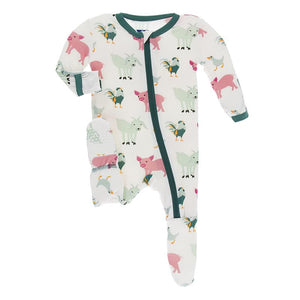 Kickee Pants-Print Footie with Zipper-Natural Farm Animals