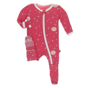 Kickee Pants-Print Footie with Zipper-Red Ginger Full Moon
