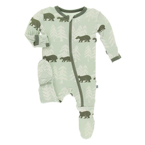 Kickee Pants-Print Footie with Zipper-Aloe Bears and Treeline