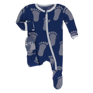 Kickee Pants-Print Footie with Zipper-Flag Blue Bigfoot