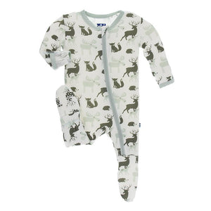 Kickee Pants-Print Footie with Zipper-Natural Forest Animals