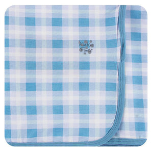 Kickee Pants-Print Swaddling Blanket-Blue Moon 2020 Holiday Plaid