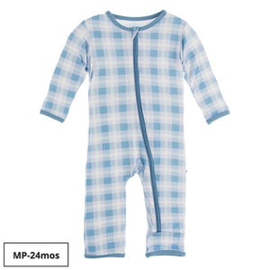 Kickee Pants-Print Coverall with Zipper-Blue Moon 2020 Holiday Plaid