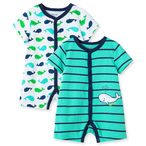 Little Me - Whale 2Pk Rompers