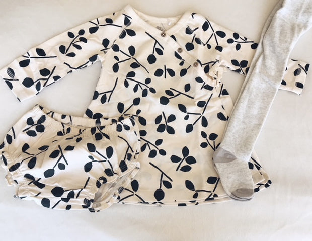 Ivory and Charcoal Leaf Print Dress