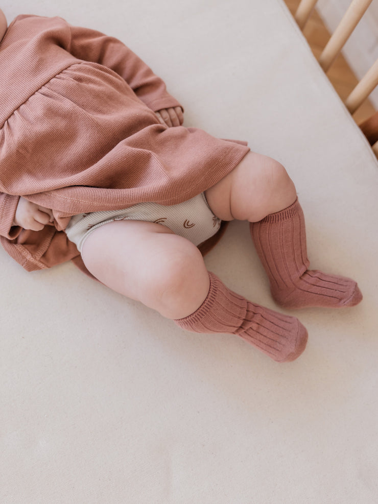 BABY RIBBED KNIT SOCKS SET| ivory, dusty blue, rose, honey