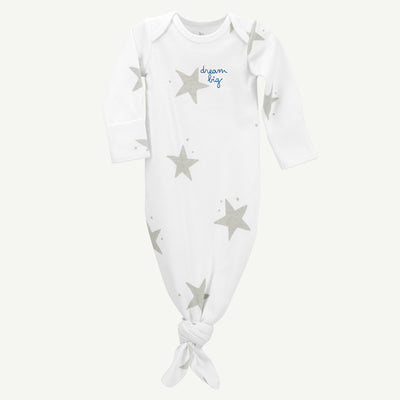 Baby Gown | White and Gray Star Print