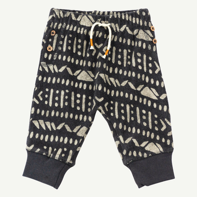 Aztec print pant | Charcoal terry cloth